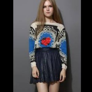 Floral Rose Crew Neck Sweater Size S